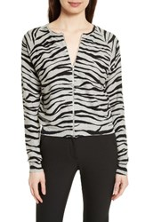 Tracy Reese Women's Zebra Stripe Cotton Zip Front Cardigan