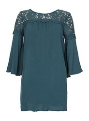 Dorothy Perkins Blue Vanilla Teal Lace Detail Swing Dress