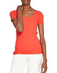 Lauren Ralph Lauren Petite Stretch Cotton Scoopneck Tee Bright Poppy