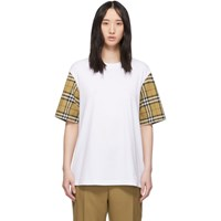 Burberry White Contrast Sleeve T Shirt