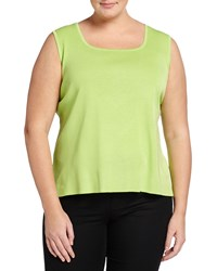 Ming Wang Plus Square Neck Basic Knit Tank Bright Green