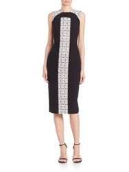 Theia Printed Colorblock Dress Black White