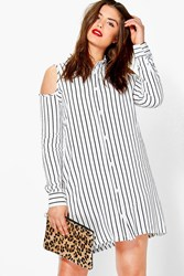 Boohoo Hayley Cut Out Shoulder Shirt Dress White