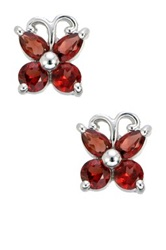 Sterling Silver Garnet Butterfly Earrings Red