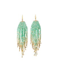 Nakamol Long Beaded Fringe Drop Earrings Turquoise
