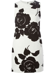 Dolce And Gabbana Rose Print Brocade Dress White