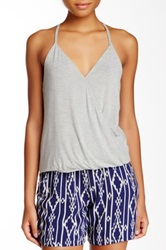 Lily White Knit Wrap Front Cami Tank Juniors Gray