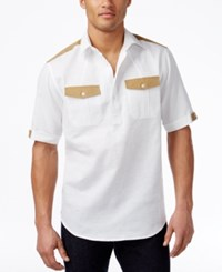 Sean John Men's Textured Popover Shirt Bright White