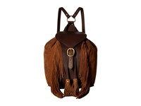 Frye Clara Fringe Backpack Dark Brown Soft Vintage Leather Suede Backpack Bags