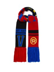 Versace Fringed Wool Scarf Red