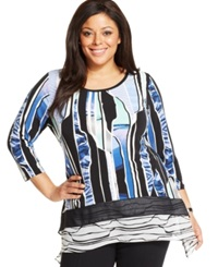 Style And Co. Plus Size Mixed Print Handkerchief Hem Tunic