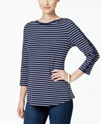 Charter Club Striped Top Created For Macy's Intrepid Blue Combo