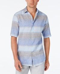 Tasso Elba Men's Linen Ombre Stripe Short Sleeve Shirt Classic Fit Blue Combo