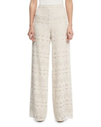 Alice Olivia Athena Embroidered Flared Wide Leg Silk Pants Multi