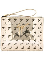 Giuseppe Zanotti Design Mirrored Logo Clutch Metallic