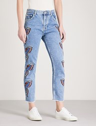 Maje Papillon Butterfly Embroidered Straight High Rise Jeans Blue