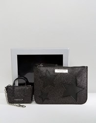 Carvela Glitter Star Pouch And Mini Bag Key Ring In Gift Box Black