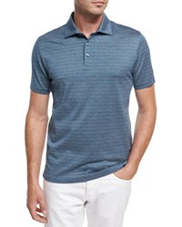 Ermenegildo Zegna Striped Cotton Polo Shirt Teal White Dark Blue