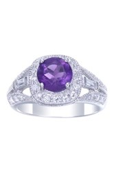 Sterling Silver Round Amethyst And Cz Ring Purple