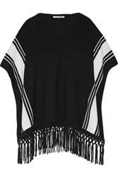 Autumn Cashmere Fringed Poncho Black