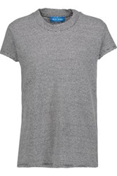 Mih Jeans M.I.H Striped Cotton And Linen Blend T Shirt Midnight Blue