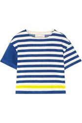 Solid And Striped The Tee Cotton Blend Terry Top Bright Blue