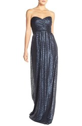 Amsale Women's 'London' Sequin Tulle Strapless Column Gown Navy