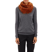 Barneys New York Knitted Fur Cowl Brown
