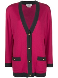 Salvatore Ferragamo Vintage Knitted V Neck Cardigan Pink And Purple