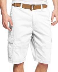 American Rag Men's Belted Relaxed Cargo Shorts Created For Macy's Bright White