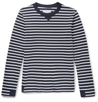 Sacai Canvas Trimmed Striped Cotton Sweater Navy