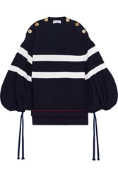 Sonia Rykiel Button Detailed Oversized Striped Knitted Sweater Midnight Blue