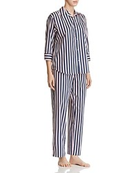 Lauren Classic Sateen Long Pajama Set Blue Red