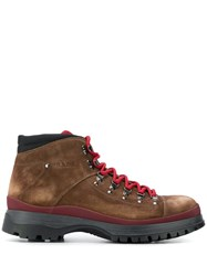 Prada Lace Up Hiking Boots Brown