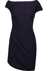 Halston Heritage Asymmetric Wrap Effect Crepe Mini Dress Midnight Blue