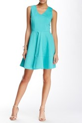 Love Ady Textured Knit Fit And Flare Dress Blue