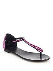 Giuseppe Zanotti Crystal Studded Suede Thong Sandals Fuchsia