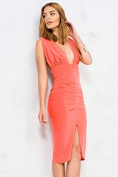 Boohoo Slinky Plunge Neck Midi Bodycon Dress Orange