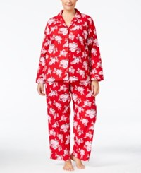 Charter Club Plus Size Printed Flannel Pajama Set Only At Macy's Roses
