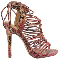 Ravel Maryhill Stiletto Heeled Cage Sandals Red
