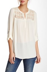 Daniel Rainn Crochet Yoke Blouse White