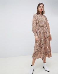Mango Synch Waist Maxi Dress In Snake Print Brown