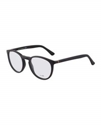 Gucci Round Opaque Plastic Optical Glasses W Web Detail Black