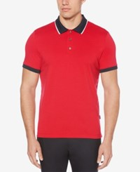 Perry Ellis Colorblocked Cotton Polo Haute Red