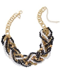 Thalia Sodi Gold Tone Black And White Beaded Torsade Necklace Only At Macy's