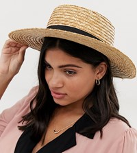 South Beach Straw Boater Hat With Black Ribbon Beige