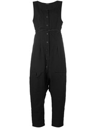 Rundholz Drop Crotch Jumpsuit Women Linen Flax L Black