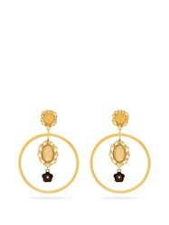 Dolce And Gabbana Cameo Hoop Drop Earrings Gold