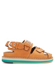 Maison Martin Margiela Buckle Cross Strap Leather Sandals Tan