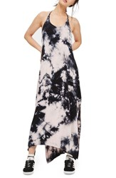 Topshop Women's Tie Dye Halter Maxi Dress Navy Blue Multi